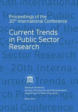Sborník 20. mezinárodní konference: Současné trendy ve výzkumu veřejného sektoru 2016